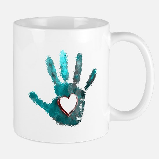 Hand Heart Red Teal Gray Mugs