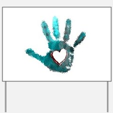 Hand Heart Red Teal Gray Yard Sign