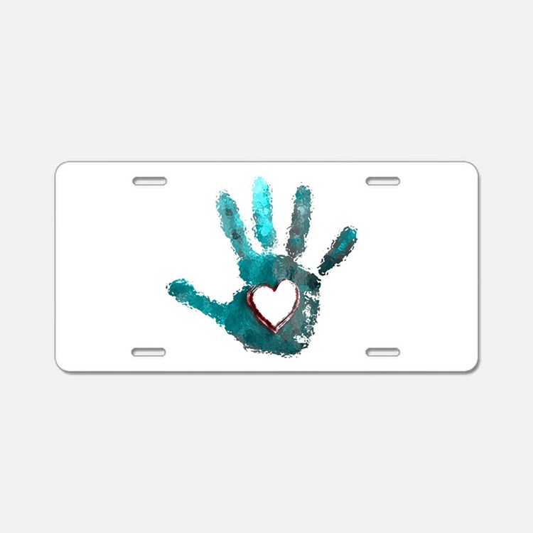Hand Heart Red Teal Gray Aluminum License Plate