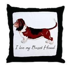 I Love my Basset Throw Pillow
