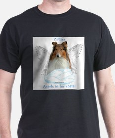 Cute French bulldog angels in fur coats T-Shirt
