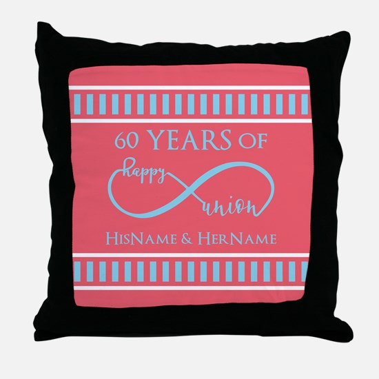 Personalized 60th Anniversary Infinit Throw Pillow