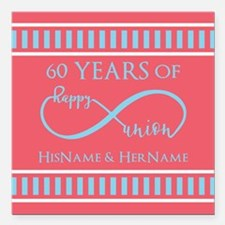 "Personalized 60th Annive Square Car Magnet 3"" x 3"""