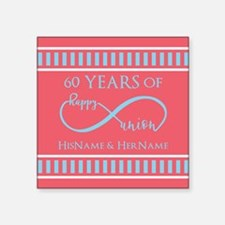"Personalized 60th Anniversa Square Sticker 3"" x 3"""