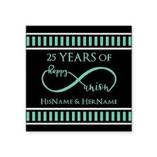 "Infinity 25th Wedding Anniv Square Sticker 3"" x 3"""