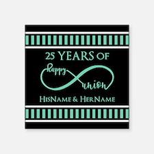 "Infinity 25th Wedding Anniv Square Sticker 3"" x 3"""