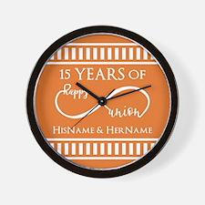 Orange Infinity Custom Wedding Annivers Wall Clock