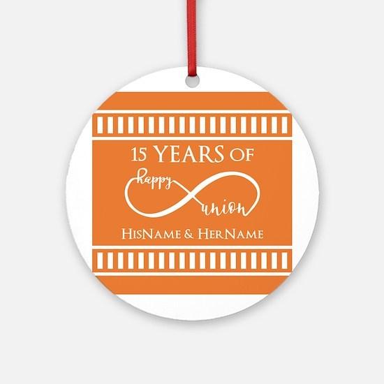 Orange Infinity Custom Wedding Anni Round Ornament