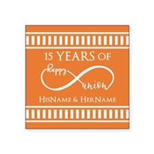 "Orange Infinity Custom Wedd Square Sticker 3"" x 3"""