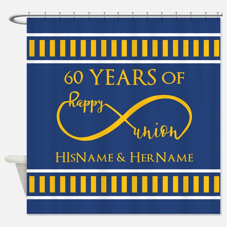 Custom Infinity 60th Wedding Annive Shower Curtain
