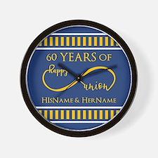 Custom Infinity 60th Wedding Anniversar Wall Clock