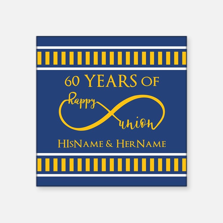 "Custom Infinity 60th Weddin Square Sticker 3"" x 3"""