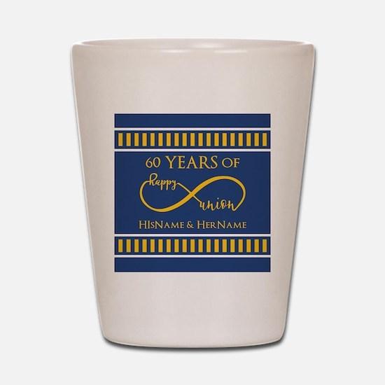 Custom Infinity 60th Wedding Anniversar Shot Glass