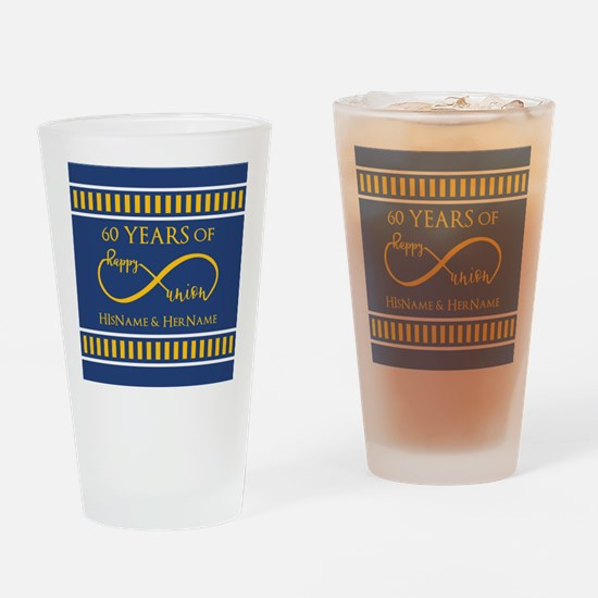 Custom Infinity 60th Wedding Annive Drinking Glass