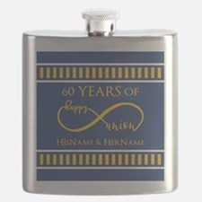 Custom Infinity 60th Wedding Anniversary Flask