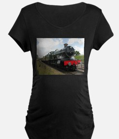 Vintage steam engine by Tom Conw Maternity T-Shirt