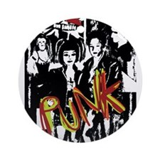 Punk Rock music fashion art and des Round Ornament
