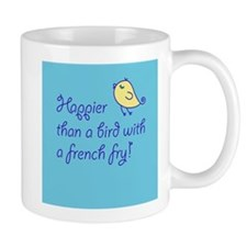 Bird with a French Fry- Blue Mugs