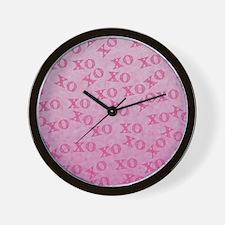 Hugs And Kisses Pink XO XO Wall Clock