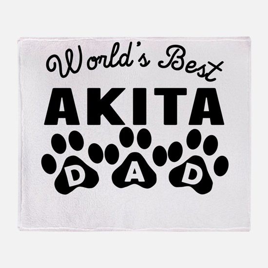 Worlds Best Akita Dad Throw Blanket