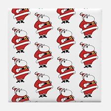 Laughing Santas Pattern Tile Coaster