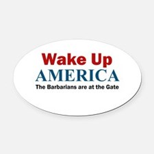 Wake Up AMERICA Oval Car Magnet