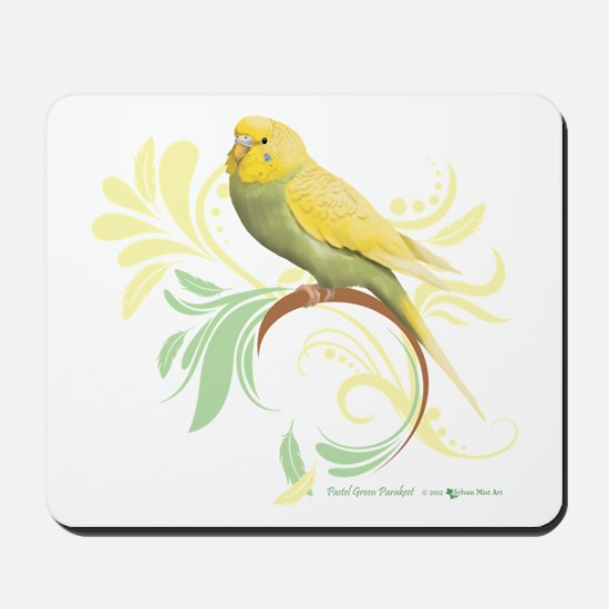 Pastel Green Parakeet Mousepad