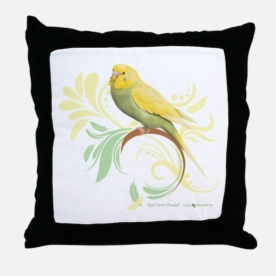 Pastel Green Parakeet Throw Pillow