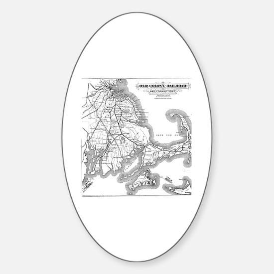 Cute Cape cod railroad Sticker (Oval)