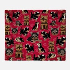 Yorkies (Red Paws) Throw Blanket
