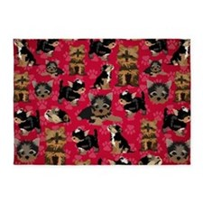 Yorkies (Red Paws) 5'x7'Area Rug