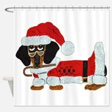 Dachshund Candy Cane Santa Shower Curtain