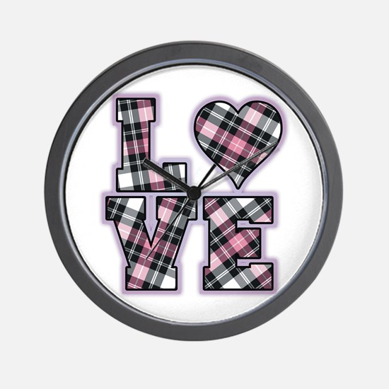 Pink And Black Plaid Love Wall Clock