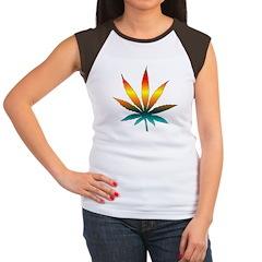 Rainbow Marijuana Leaf Women's Cap Sleeve T-Shirt
