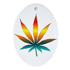 Rainbow Marijuana Leaf Ornament (Oval)