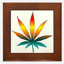 Rainbow Marijuana Leaf Framed Tile