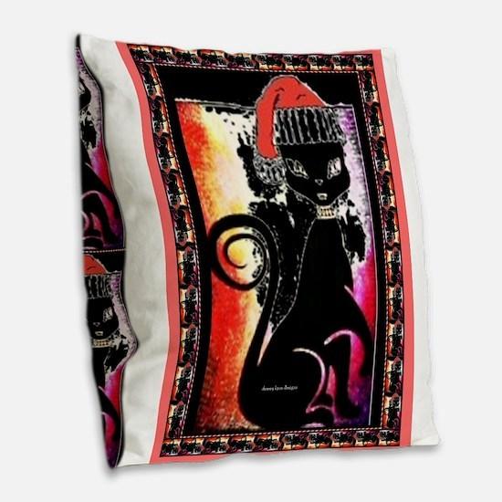 Santa Diva Cat Black Burlap Throw Pillow