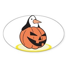 Penguin in Pumpkin Oval Decal