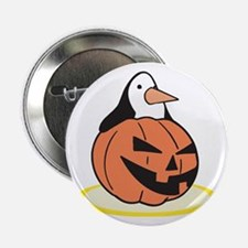 Penguin in Pumpkin Button