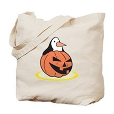 Penguin in Pumpkin Tote Bag