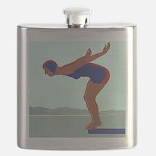 Diver, Diving off of a Diving Board; Vintage Flask