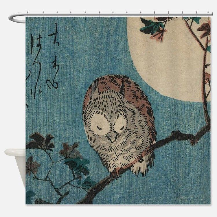 Owl on a Tree Limb; Vintage Japanes Shower Curtain