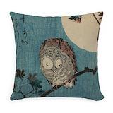 Owl on a tree limb 253b vintage Woven Pillows