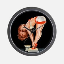 Pin-Up Girl on a Scale; Vintage Poster Wall Clock