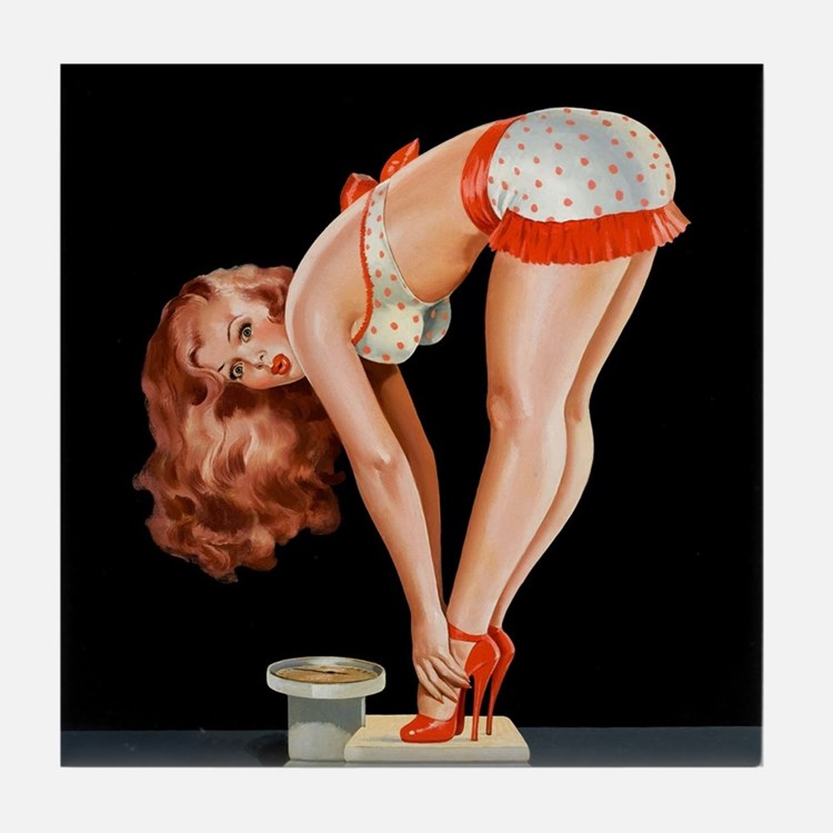 Pin-Up Girl on a Scale; Vintage Poste Tile Coaster