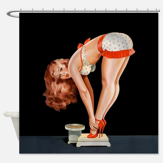 Pin-Up Girl on a Scale; Vintage Pos Shower Curtain