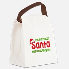 Santa Naughty List Canvas Lunch Bag