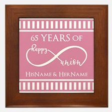 65th Anniversary Gift Infinity Happy U Framed Tile
