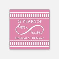"""65th Anniversary Gift Infin Square Sticker 3"""" x 3"""""""