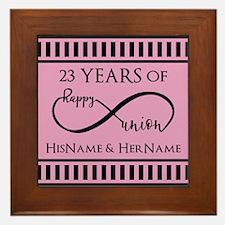 Pink and Black Mr. and Mrs. Wedding Pe Framed Tile